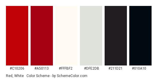 Red, White & Black - Color scheme palette thumbnail - #c10206 #a50113 #fffbf2 #dfe2db #211d21 #010a10