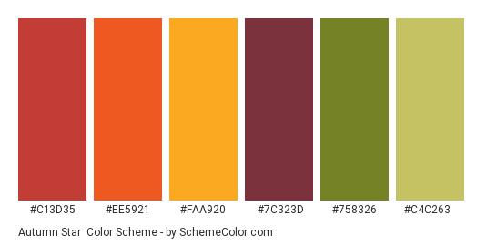 Autumn Star - Color scheme palette thumbnail - #c13d35 #ee5921 #faa920 #7c323d #758326 #c4c263