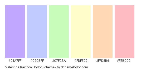 Valentine Rainbow - Color scheme palette thumbnail - #c1a7ff #c2cbff #c7fcba #fdfec9 #ffd8b6 #febcc2