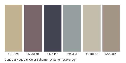 Contrast Neutrals - Color scheme palette thumbnail - #c1b391 #79666b #434452 #959f9f #c3beab #a29585
