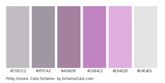 Pinky Onions - Color scheme palette thumbnail - #c1bcc2 #9f97a2 #a5809f #c084c2 #e0aedf #e4e4e6