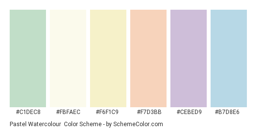 Pastel Watercolour - Color scheme palette thumbnail - #c1dec8 #fbfaec #f6f1c9 #f7d3bb #cebed9 #b7d8e6