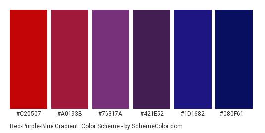 Red-Purple-Blue Gradient - Color scheme palette thumbnail - #c20507 #a0193b #76317a #421e52 #1d1682 #080f61