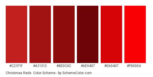 Christmas Reds - Color scheme palette thumbnail - #c21f1f #a11313 #8e0c0c #6e0407 #d60407 #f80004