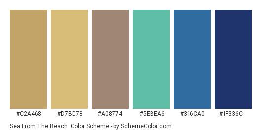 Sea from the Beach - Color scheme palette thumbnail - #c2a468 #d7bd78 #a08774 #5ebea6 #316ca0 #1f336c
