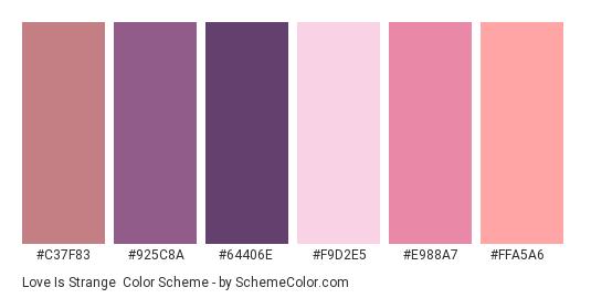 Love is Strange - Color scheme palette thumbnail - #c37f83 #925c8a #64406e #F9D2E5 #e988a7 #ffa5a6