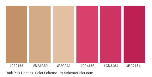 Dark Pink Lipstick - Color scheme palette thumbnail - #c39168 #d2ab89 #e2c0a1 #d9416b #cd3464 #bc2154