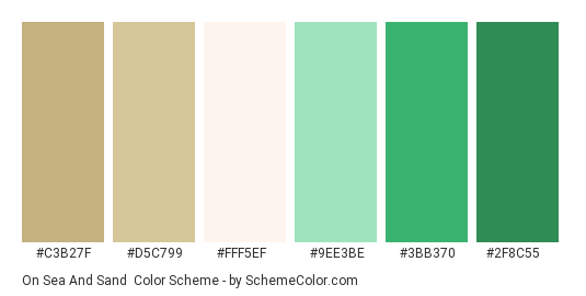 On Sea and Sand - Color scheme palette thumbnail - #c3b27f #d5c799 #fff5ef #9ee3be #3bb370 #2f8c55