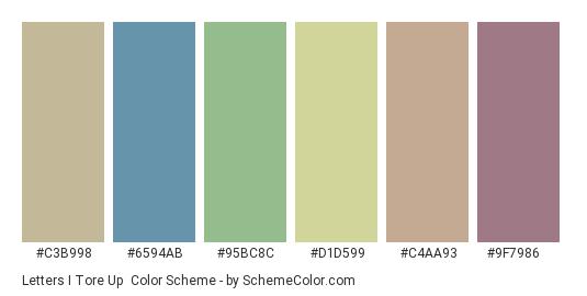 Letters I Tore Up - Color scheme palette thumbnail - #c3b998 #6594ab #95bc8c #d1d599 #c4aa93 #9f7986