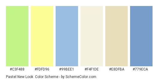 Pastel New Look - Color scheme palette thumbnail - #c3f488 #fdfd96 #99bee1 #f4f1de #e8dfba #779eca