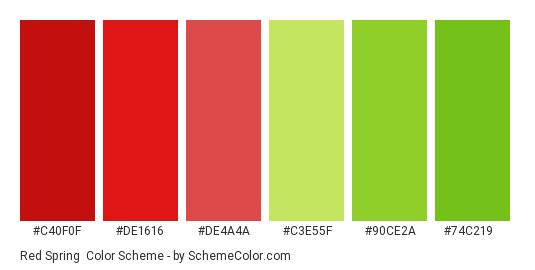 Red Spring - Color scheme palette thumbnail - #c40f0f #de1616 #de4a4a #c3e55f #90ce2a #74c219