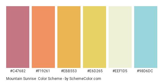 Mountain Sunrise - Color scheme palette thumbnail - #c47682 #f19261 #ebb553 #e6d265 #eef1d5 #98d6dc