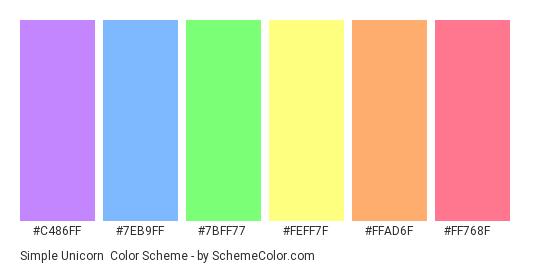 Simple Unicorn - Color scheme palette thumbnail - #c486ff #7eb9ff #7bff77 #feff7f #ffad6f #ff768f