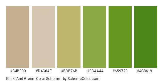 Khaki And Green Color Scheme Palette Thumbnail C4b090 D4c6ae Bdb76b