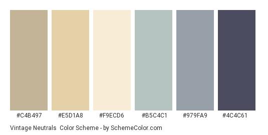 Vintage Neutrals - Color scheme palette thumbnail - #c4b497 #e5d1a8 #f9ecd6 #b5c4c1 #979fa9 #4c4c61