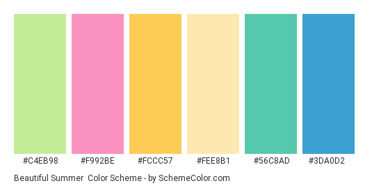 Beautiful Summer - Color scheme palette thumbnail - #c4eb98 #f992be #fccc57 #fee8b1 #56c8ad #3da0d2