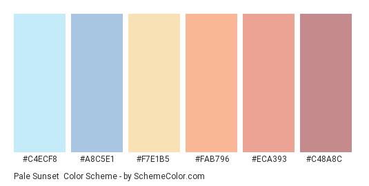 Pale Sunset - Color scheme palette thumbnail - #c4ecf8 #a8c5e1 #f7e1b5 #fab796 #eca393 #c48a8c