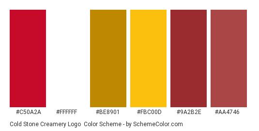 Cold Stone Creamery Logo - Color scheme palette thumbnail - #c50a2a #ffffff #be8901 #fbc00d #9a2b2e #aa4746