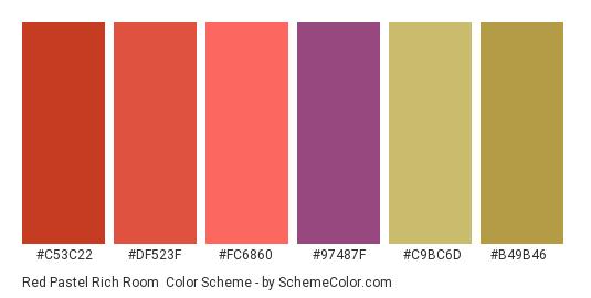 Red Pastel Rich Room - Color scheme palette thumbnail - #c53c22 #df523f #fc6860 #97487f #c9bc6d #b49b46