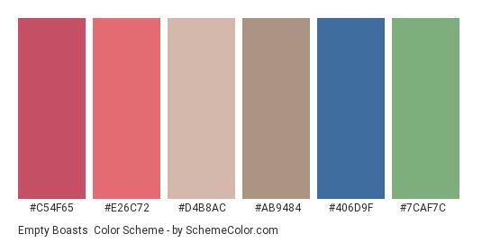 Empty Boasts - Color scheme palette thumbnail - #c54f65 #e26c72 #d4b8ac #ab9484 #406d9f #7caf7c