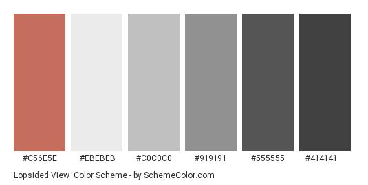 Lopsided View - Color scheme palette thumbnail - #c56e5e #ebebeb #c0c0c0 #919191 #555555 #414141