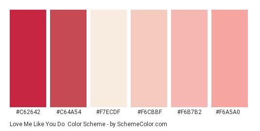 Love Me Like You Do - Color scheme palette thumbnail - #c62642 #c64a54 #f7ecdf #f6cbbf #f6b7b2 #f6a5a0