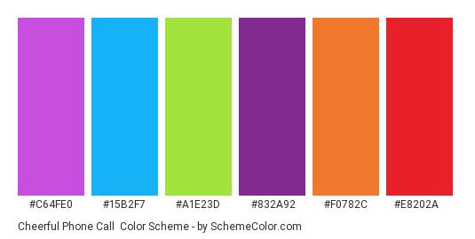 Cheerful Phone Call - Color scheme palette thumbnail - #c64fe0 #15b2f7 #a1e23d #832a92 #f0782c #e8202a