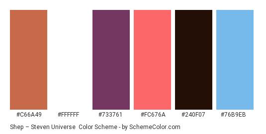 Shep – Steven Universe - Color scheme palette thumbnail - #c66a49 #ffffff #733761 #fc676a #240f07 #76b9eb