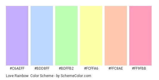 Love Rainbow - Color scheme palette thumbnail - #c6aeff #bdd8ff #bdffb2 #fcffa6 #ffc8ae #ff9fbb