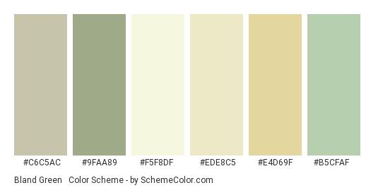 Bland Green & Yellow - Color scheme palette thumbnail - #c6c5ac #9faa89 #f5f8df #ede8c5 #e4d69f #b5cfaf