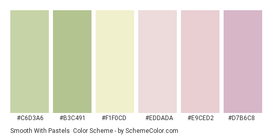Smooth with Pastels - Color scheme palette thumbnail - #c6d3a6 #b3c491 #f1f0cd #eddada #e9ced2 #d7b6c8