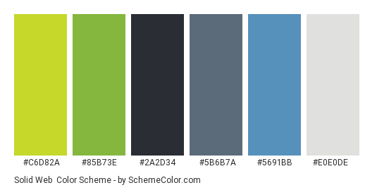 Solid Web - Color scheme palette thumbnail - #c6d82a #85b73e #2a2d34 #5b6b7a #5691bb #e0e0de