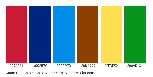 Guam Flag Colors - Color scheme palette thumbnail - #c71b36 #00257c #008de8 #8d4000 #ffdf52 #08951c