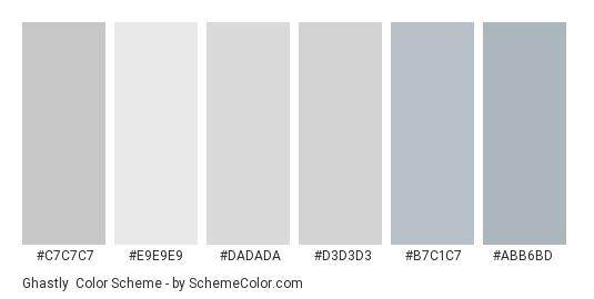 Ghastly - Color scheme palette thumbnail - #c7c7c7 #e9e9e9 #dadada #d3d3d3 #b7c1c7 #abb6bd