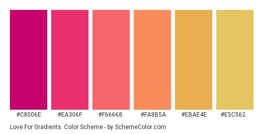 Love for Gradients - Color scheme palette thumbnail - #c8006e #ea306f #f66668 #fa8b5a #ebae4e #e5c562