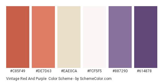 Vintage Red and Purple - Color scheme palette thumbnail - #c85f49 #de7d63 #eae0ca #fcf5f5 #88729d #614878