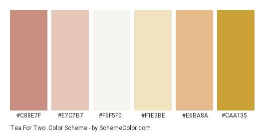 Tea for Two - Color scheme palette thumbnail - #c88e7f #e7c7b7 #f6f5f0 #f1e3be #e6ba8a #caa135