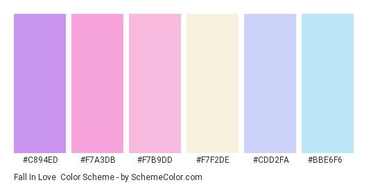 Fall in Love - Color scheme palette thumbnail - #c894ed #f7a3db #f7b9dd #f7f2de #cdd2fa #bbe6f6