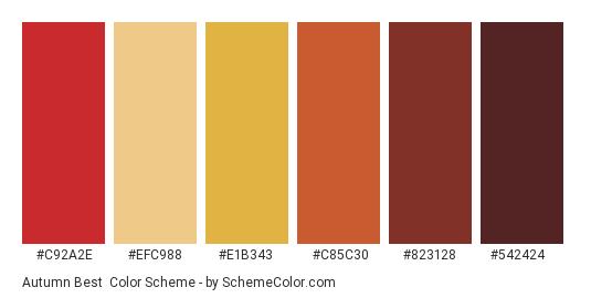 Autumn Best - Color scheme palette thumbnail - #c92a2e #efc988 #e1b343 #c85c30 #823128 #542424
