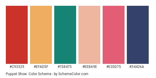 Puppet Show - Color scheme palette thumbnail - #c93329 #efad5f #158475 #eeb69e #e35d75 #34426a