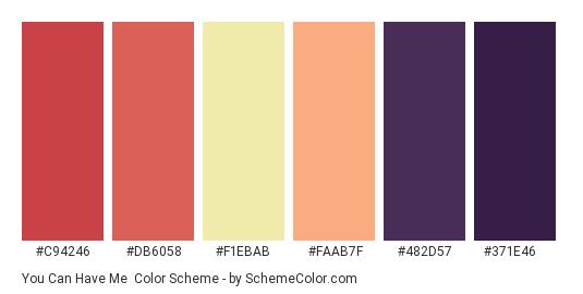 You Can Have Me - Color scheme palette thumbnail - #c94246 #db6058 #f1ebab #faab7f #482d57 #371e46
