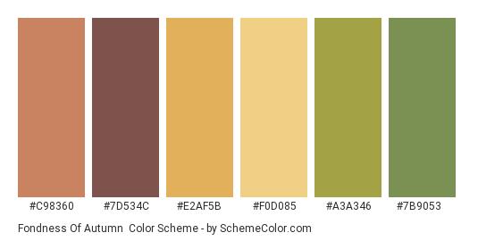 Fondness of Autumn - Color scheme palette thumbnail - #c98360 #7d534c #e2af5b #f0d085 #a3a346 #7b9053