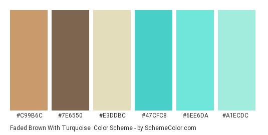 Faded Brown with Turquoise - Color scheme palette thumbnail - #c99b6c #7e6550 #e3ddbc #47cfc8 #6ee6da #a1ecdc