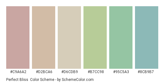 Perfect Bliss - Color scheme palette thumbnail - #c9a6a2 #d2bca6 #d6cdb9 #b7cc98 #95c5a3 #8cb9b7