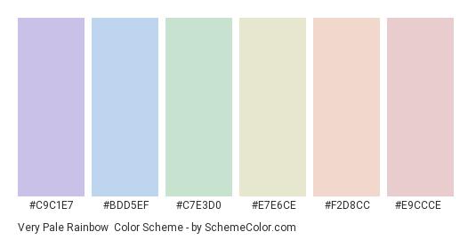 Very Pale Rainbow - Color scheme palette thumbnail - #c9c1e7 #bdd5ef #c7e3d0 #e7e6ce #f2d8cc #e9ccce