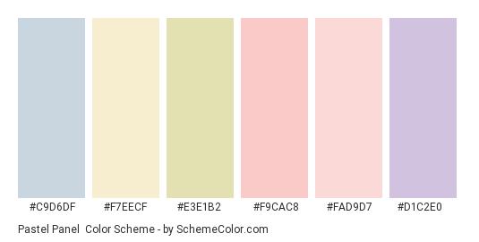 Pastel Panel - Color scheme palette thumbnail - #c9d6df #f7eecf #e3e1b2 #f9cac8 #fad9d7 #d1c2e0