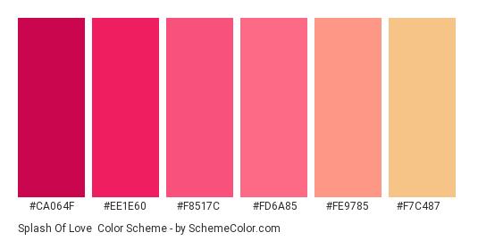 Splash of Love - Color scheme palette thumbnail - #ca064f #ee1e60 #f8517c #fd6a85 #fe9785 #f7c487