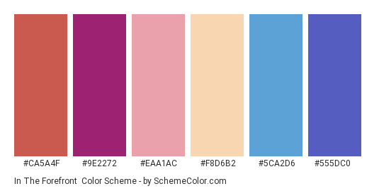 In the Forefront - Color scheme palette thumbnail - #ca5a4f #9e2272 #eaa1ac #f8d6b2 #5ca2d6 #555dc0