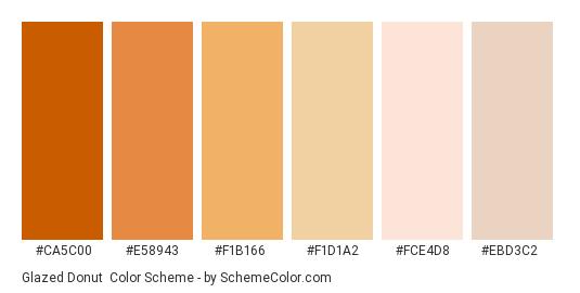 Glazed Donut - Color scheme palette thumbnail - #ca5c00 #e58943 #f1b166 #f1d1a2 #fce4d8 #ebd3c2