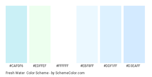 Fresh Water - Color scheme palette thumbnail - #caf0f6 #edffef #ffffff #ebf8ff #ddf1ff #d3eaff